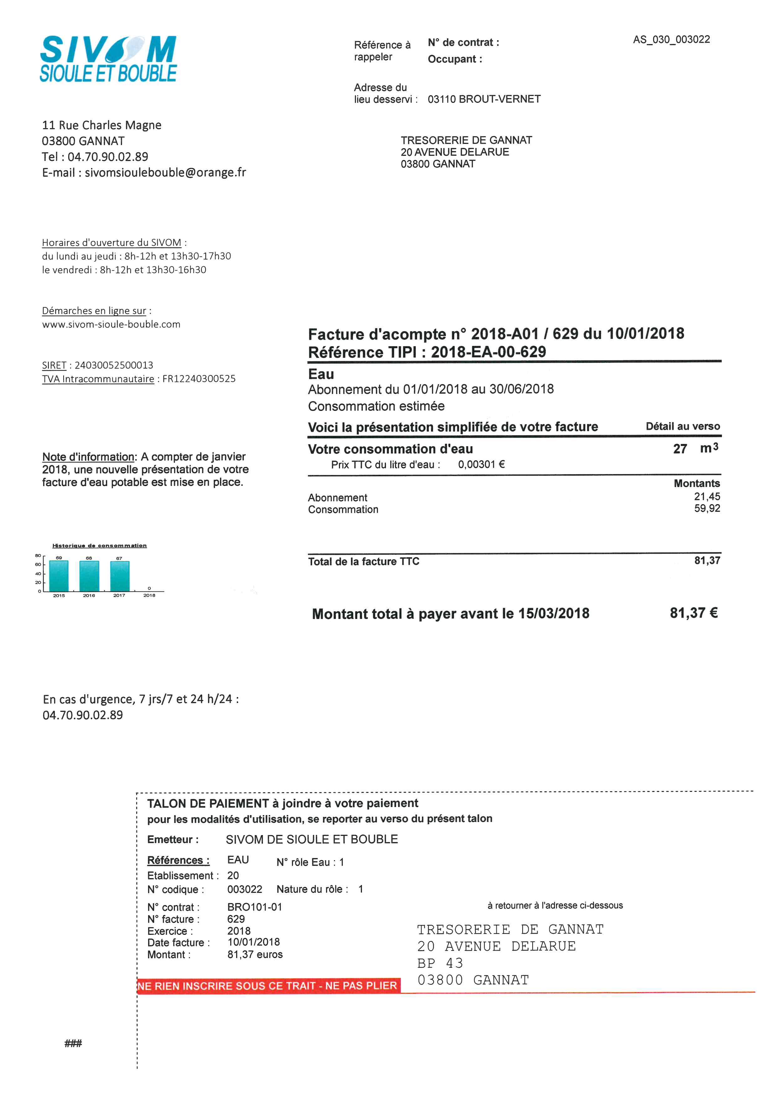 Nouvelle présentation des factures du SIVOM à compter du 1er janvier 2018